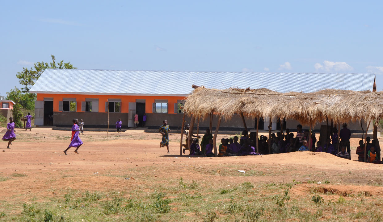 Old and new classrooms at a Build Africa supported school