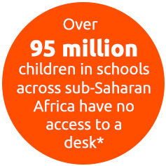 Over 95 million children in schools across sub-Saharan Africa have no access to a desk