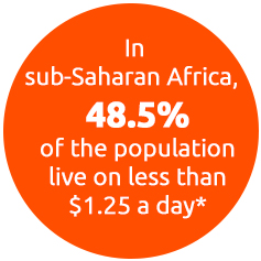 In Sub-Saharan Africa, 48.5% of the population live on less than $1.25 a day