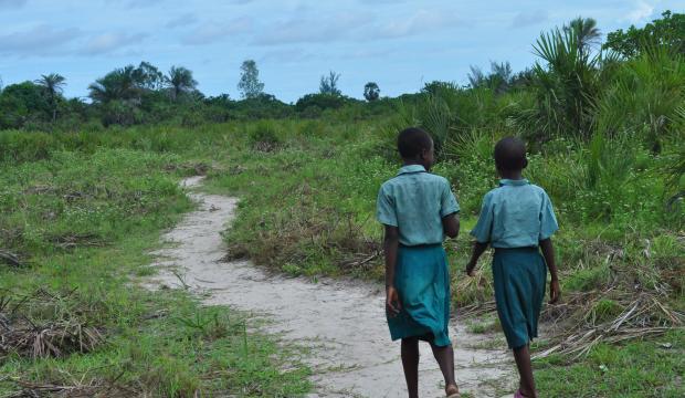 Primary school girls walking to school in the Kwale area of Kenya