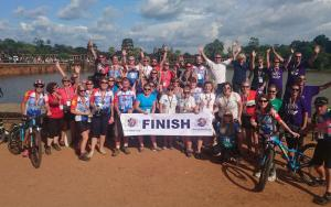 The finish line at Angkor Wat, part of the Vietnam to Cambodia cycle challenge.
